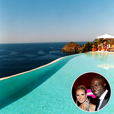 "The beautiful couple and their three children spend a lot of time in the saltwater pool of their vacation home in Costa Careyes, Mexico. ""We just hang out, go in the pool, relax,"" says Klum. ""There is something about the view that makes you not want to move."""