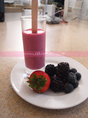 Mixed berries lavender yoghurt ice pops