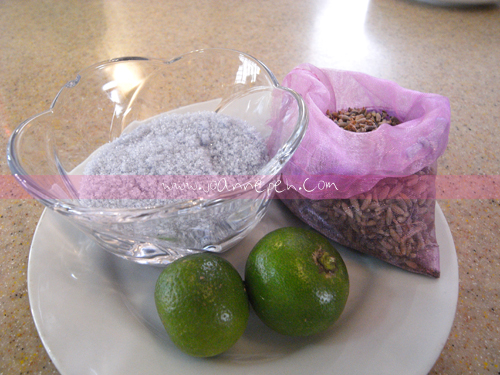 Lavender sugar, lavender seeds and lime